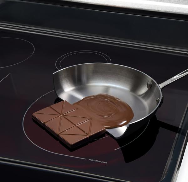 Сама плита остается холодной, нагревается лишь специальная посуда